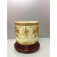 Bát hương thờ+ đế gỗ ( gốm sứ bát tràng cao cấp) thumbnail