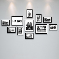 Bộ Khung Ảnh Treo Tường Hà Nội Xưa Trắng Đen Tặng Kèm bộ ảnh như hình mẫu, đinh treo tranh và sơ đồ treo - PGC270 thumbnail