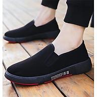 Giày Lười Slip-On Nam Vải Mềm Êm Thiết Kế Nam Tính - 3156N - Đen Full thumbnail
