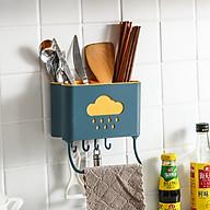 Ống đũa treo tường đám mây tiết kiệm diện tích có móc treo dụng cụ nhà bếp tiện ích - giao màu ngẫu nhiên thumbnail
