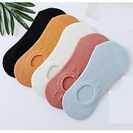 Set 5 đôi tất nữ vớ hài cổ chun, chất cotton mềm mại thoáng khí freesize dùng đi giày cổ thấp thumbnail