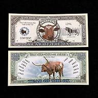 Tiền lưu niệm 1 triệu USD hình con Trâu có kích thước 15,5 x 6,5cm, màu xám, dùng để lưu niệm, sưu tầm, làm quà tặng, không có lưu hành thumbnail