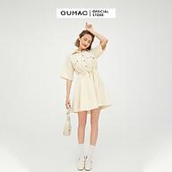 Đầm sơ mi tay lỡ rút eo màu kem GUMAC DB5109 thumbnail