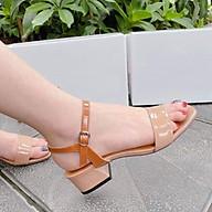 Sandal cao gót đế vuông nữ, hở mũi thiết kế đơn giản gót cao 5p màu đen và kem thumbnail