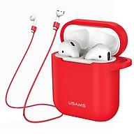 Bao case silicon và dây nối chống mất tai nghe Usams cho Apple Airpods Earpods - Hàng chính hãng thumbnail