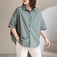 Áo sơ mi nữ 1 túi tay ngắn kiểu dáng Hàn Quốc. thumbnail