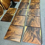 Mặt bàn vuông gỗ me tây nguyên tấm cho quán cafe thumbnail