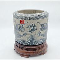 Bát hương thờ men ranh rồng mặt nguyệt âm dương hoà hợp ( tặng kèm đế gỗ kê bát hương) thumbnail