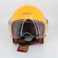 Mũ bảo hiểm 3 4 SRT 368K viền đồng lót nâu cao cấp có thông gió - kính càng - Vàng dành cho người đi phượt thumbnail