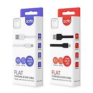 Cáp sạc Micro kiểu dáng phẳng dài 1,2m - Flat Charging & Data Cable Actto USB-19 Hàng Chính Hãng BLACK thumbnail