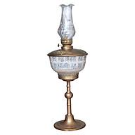 Đèn thờ dầu men rạn vẽ chữ nho chân đồng đế bẹt gốm sứ Bát Tràng (đèn dầu, đèn thờ cúng) thumbnail