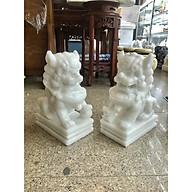 Cặp Kỳ Lân phong thủy gác cổng đá cẩm thạch trắng - Cao 30 cm thumbnail