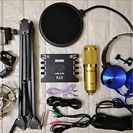 Trọn Bộ Míc Thu Âm Livestream Hát Karaoke Online Micro BM-900+ CARD K10+ dây live MA2+Tặng Tai Phone ốp+ Chân kẹp+màng lọc Hàng chính hãng thumbnail