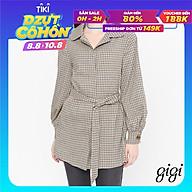 GIGI - Áo khoác nữ cổ bẻ tay dài phối thắt lưng Checked G1603202616J-14 thumbnail