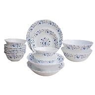Bộ 16 món bát đĩa bằng thủy tinh ngọc OPAL-B Hoa văn BLUE MYSTIQUE thumbnail