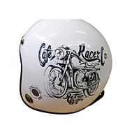 Mũ bảo hiểm 3 4 viền đồng thông gió SRT Tem Xe đồng - Trắng bóng tặng túi và lưỡi trai thumbnail
