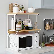 Tủ kệ nhà bếp đựng gia vị, Kệ để lò vi sóng, Lò nướng nồi cơm điện khung hợp kim chịu lực siêu bền mặt gỗ chống thấm chống bám bụi thumbnail