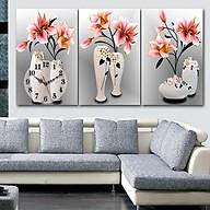 Tranh treo tường, tranh đồng hồ NT155 bộ 3 tấm ghép thumbnail