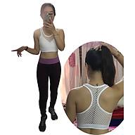 Bộ quần áo thể thao tập yoga, tập gym nữ SR09 YG ALT cao cấp áo lưới trắng kết hợp quần tím thumbnail