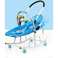 Ghế bập bênh 4in1 kiêm xe đẩy 2 chiều có nhạc và rung mát xa cho bé TẶNG mùng và đồ chơi kèm theo (xanh) thumbnail