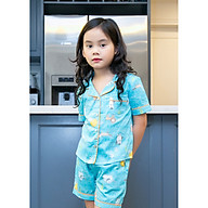 Bộ mặc nhà Pijama bé gái màu xanh họa tiết hình thú thumbnail