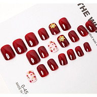Bộ 24 móng tay giả đỏ đính charm ngôi sao (CD023) tặng kèm thun lò xo cột tóc màu đen tiện lợi thumbnail
