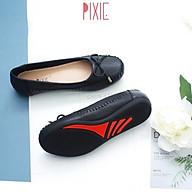 Giày Búp Bê Bệt Da Bò Thật Siêu Êm Gắn Nơ Nhỏ Pixie X603 thumbnail