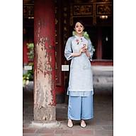Bộ áo dài tapta mỏng màu xanh, tay liền phối tơ đính hoa TOSON thumbnail