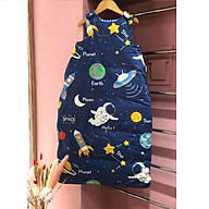Túi ngủ, chăn quấn handmade cao cấp cho bé trai bé gái hình tàu vũ trụ, phi hành gia nền xanh đậm cá tính cho bé từ 0-6 tuổi thumbnail