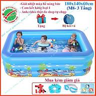 Bể bơi phao cho bé kích 1m8 và 2m1 - 3 Tầng, bể bơi bơm hơi có đáy chống trơn thumbnail