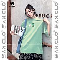 Áo thun tay lỡ nữ SAM CLO freesize phông form rộng dáng Unisex, mặc lớp, nhóm, couple in hình HAI QUẢ BƠ NẮM TAY thumbnail