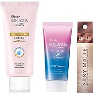 Bộ sản phẩm da trắng hồng trong suốt dành cho da thường da khô (Tinh chất chống nắng 50g + Lotion chống nắng dưỡng thể 150g) + Tặng son trang điểm Lip On Lip Silky Matte 2.2g thumbnail