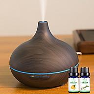Máy khuếch tán tinh dầu giọt nước lớn gỗ nâu Lorganic FX2023 + tinh dầu sả chanh + tinh dầu cam Lorganic (10ml x2) Phun sương sóng siêu âm. thumbnail