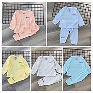 Combo 4 bộ Thun Tăm áo dài tay chui đầu khuy vai cho bé thumbnail