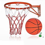 Vành bóng rổ 30cm + quả bóng rổ caosu số 3 có tặng kèm kim bơm và lưới đựng bóng thumbnail