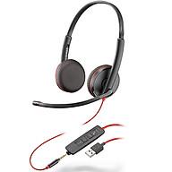 Tai nghe chụp tai có dây tích hợp Mico khử tiếng ồn Plantronics Blackwire C3225 USB-A - Hàng chính hãng thumbnail