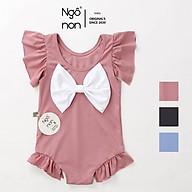Bộ đồ bơi bikini liền thân đính nơ xinh xắn cho bé gái Ngô Non( B0001) thumbnail