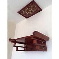 combo bàn thờ treo tường Gỗ Gụ Lào ( tặng tấm chống ám khói ) thumbnail