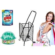 Xe kéo đi chợ đa năng cỡ to Tặng bột giặt phụ trợ Hàn Quốc ,Sáp thơn hương táo mỹ thumbnail