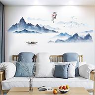 Decal dán tường tranh thủy mặc Sông núi yên bình Size nhỏ (57 x 138 cm) thumbnail