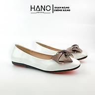 HANO - Giày Bệt mũi vuông nơ lụa da bóng mềm cao cấp thumbnail