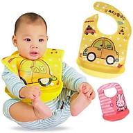 Set 2 Yếm ăn dặm có máng nhựa có thể tháo rời ( tặng kèm 1 mũ tắm chắn nước cho bé ) giao mầu ngẫu nhiên thumbnail