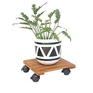 COMBO 2 Đế Lót Chậu Cây có bánh xe GREENHOME- Chậu Hoa bằng gỗ Tự Nhiên -Có bánh xe (Vuông-Vàng) Đường Kính 30cm - Tải trọng 80kg-TẶNG HAI GÓI DƯỠNG HOA TƯƠI LÂU thumbnail