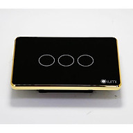 Công tắc LUMI 3 nút kính phẳng viền bo champagne điều khiển nhà thông minh qua APP thumbnail