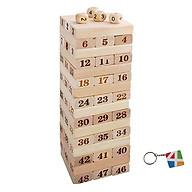 Bộ đồ chơi rút gỗ, đồ chơi gỗ thông minh, trò chơi rút gỗ Wiss Toy 48 thanh gỗ tự nhiên, game rút gỗ kèm 4 xúc xắc + Tặng Kèm Móc Khóa 4Tech. thumbnail