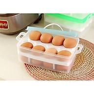 Hộp Đựng Trứng 2 Tầng 24 Quả Tiện Lợi Gọn Gàng tặng kèm máy đánh trứng cầm tay thumbnail