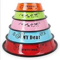 Bát ăn đơn sơn màu inox viền cao cho thú cưng ( màu ngẫu nhiên , size L) thumbnail