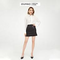 [MISS GU 2] Chân váy nữ chữ A phối nút GUMAC màu đen trơn sang trọng VB508 thumbnail