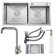 Combo chậu rửa chén inox sus304 kích thước 8245, vòi rửa chén nóng lạnh, bình xà phòng, rá inox đa năng, xả chậu thumbnail