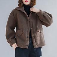 Women Loose Fleece Jacket Turn-Down Collar Lantern Sleeves Front Button Pockets Asymmetrical Hem Winter Coat Casual thumbnail